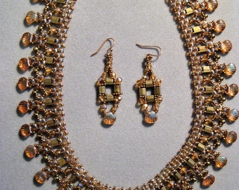 Handcrafted Peach and Bronze Tila and Shell Bead Necklace and Earring Set