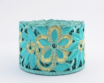 Gold Trim, Lace Trim, Embroidered Lace, Embroidery Lace Trim, Border, Indian Style, Filigree, Aqua Blue, Gold - 1 meter