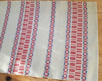 Beautiful red/blue woven linen handmade tablerunner  from Sweden