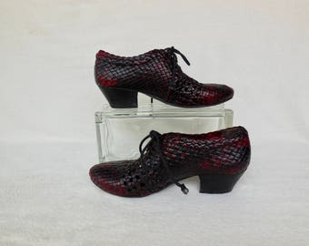 WOVEN LEATHER Shoes/Woven Oxford Shoes/Italian Leather Shoes/Two Tone Leather Booties/Woven Leather Ankle Booties/Made In Italy/Euro 37/US 7