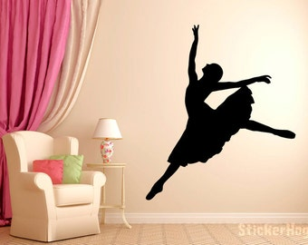 """Ballerina Dancer Ballet Wall Decal Silhouette #5 Wall Decal Vinyl Sticker Home Bedroom Wall Home Studio Decor Sizes from 22"""" to 60"""" tall"""
