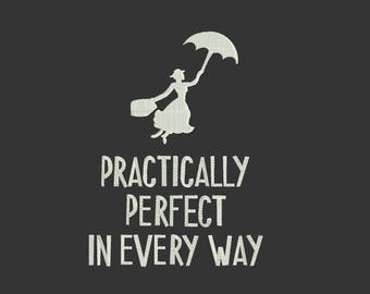 Perfectly Perfect in every way disney Machine Embroidery Designs - Instant Download Filled Stitches Design 157