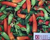Hot Peppers from Farmer Johns Garden Collection by Paintbrust Studio.  Quilt and Craft Fabric, Fabric by the Yard.