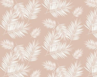 Blush palm leaves baby blanket - ivory pink - tropical palm leaf fronds - faux fur minky - south beach desert - girl baby shower gift