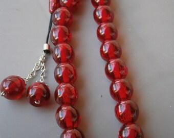 LARGE Turkish red Glitter beads Tasbih GREEK KOMBOLOI Tesbih kabbalah nazar hamsa handra worry beads prayer