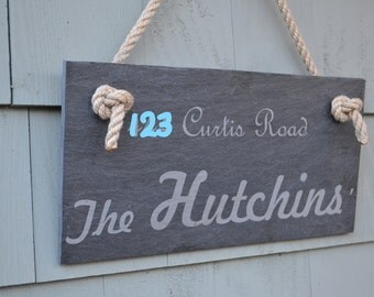 Slate House Sign - Family Name Door Hanging -  Personalized Address Marker