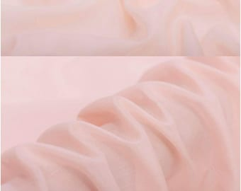 "Designer Solid Silk Cotton Blend Fabric - Pale Pink Lining Cloth by The Yard or Meter  53"" (135 cm) wide"