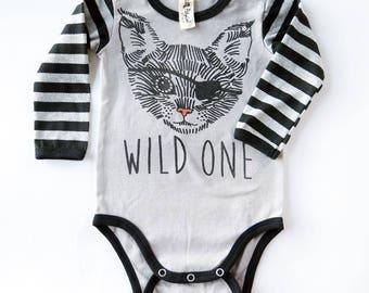 Pirate Cat Tattoo Long Sleeve Baby Grow - Unisex Alternative Anchor Rockabilly Bodysuit 0-3, 3-6, 6-12 month