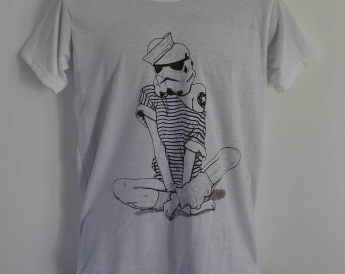 Men's Stormtrooper Sailor Girl T-Shirt by Cisternas Art - Tattoo Darth Vader Pin Up Alternative - UK S M L