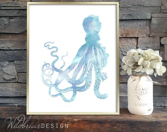 Printable Wall Art, Watercolor Octopus Beach / Under the Sea painting vintage style, nautical in cyan blue: INSTANT DOWNLOAD