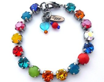 Colorful Swarovski Crystal Tennis Bracelet, 8mm Vivid Primary Summer Colors, TOUCAN TANGO, Siggy Jewelry, Free Shipping