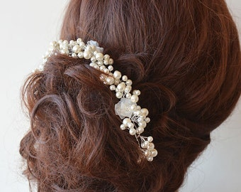 Bridal Headpiece, Wedding Pearl Headpiece, Pearl Wedding Hair, Bridal Hair Accessories, Hair Jewelry