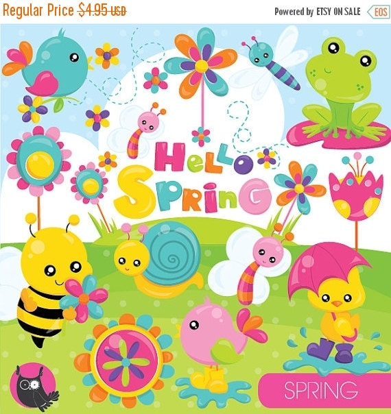 80% OFF SALE Spring clipart commercial use spring animals