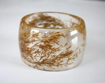 Common reed bangle, large bangle, botanical bangle, plant bangle, botanical bracelet, reed bracelet, nature bracelet, made in Canada