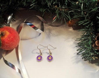 Christmas Bauble Earrings on Silver Plated Earring Wires