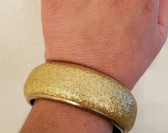 Vintage 80s Goldtone Glitter Metal Bangle Bracelet