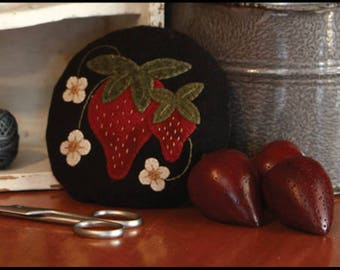Primitive Wool Applique Pattern - Strawberry Pincushion