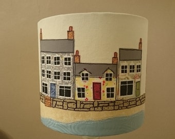 Handmade Embroidered Lampshade - Seaside Cottages