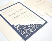 Lace Wedding Invitation, Wedding Invite, Laser Cut, Romantic, Timeless, Elegant Invitation, Simple, Navy Blue and Cream, ELEGANT LACE