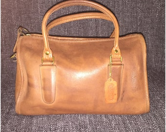 Vintage Coach Made in USA Madison Speedy Doctor Satchel Bag in Cognac Brown