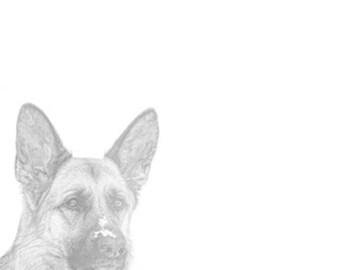 Printable German Shepherd Notecards Flat Notepaper Instant Download Sketch dog lover