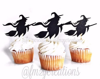 Halloween Cupcake Toppers | Witch Glitter Cupcake Toppers | Cupcake Toppers | Halloween Cupcakes | Halloween Party | Halloween Decoration