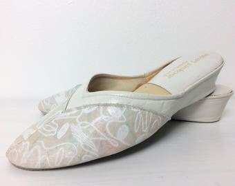 Vintage 70s Mules/ 70s Jacques Levine Artsy Leather Slip Ons/ 6