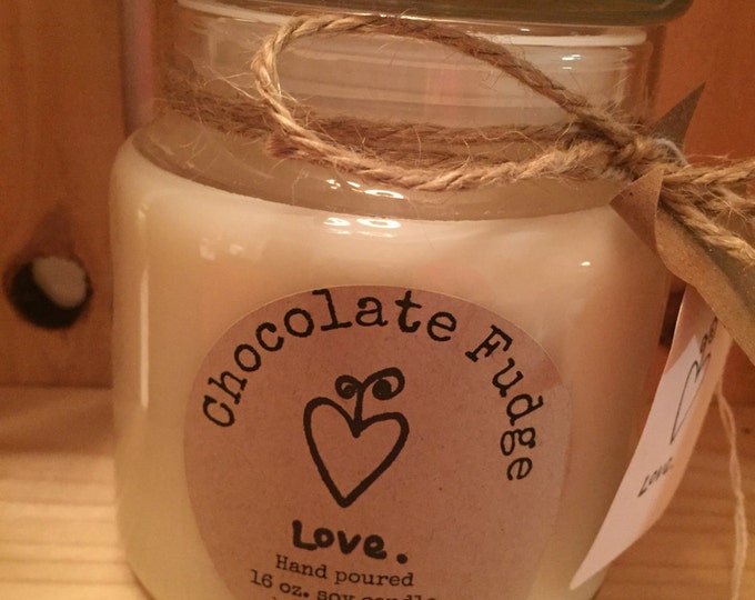 Handmade, Hand Poured, all Natural, Unique, CHOCOLATE FUDGE scented, 100% Soy Candle in a 16 oz. glass apothecary Jar with a Cotton Wick