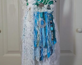 Hippie Gypsy Fringe Bag - Small Aqua Turquoise Cell Phone Shoulder Bag - Bohemian Small Hippie Boho Fringe Bag