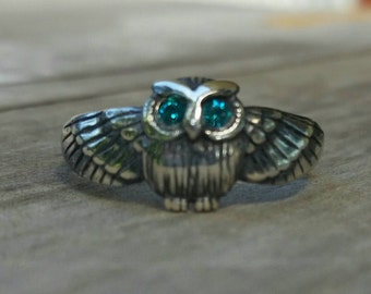 petite owl sterling silver bird ring alternative boho gypsy