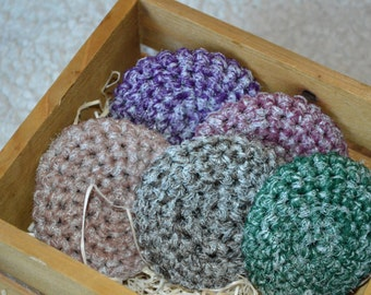 Scrubbing Scrubbies, Crocheted Scrubbies, Nylon Netting Scrubbies, Variegated Fall Scrubbies, Floor Scrubbies, Bathroom Scrubbies, Cleaning
