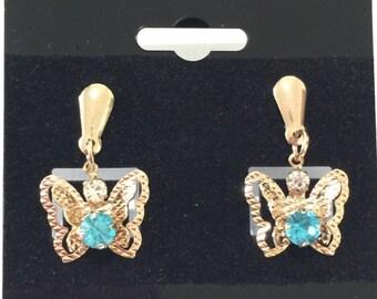 14k goldfilled light cz butterfly earrings goldfilled