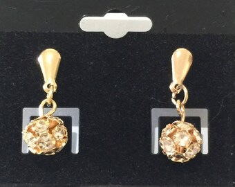 14k goldfilled round cz pearl earrings goldfilled