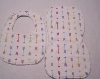Pale pink and multi-colored arrows infant,baby, toddler girl beautiful, modern bib and burp cloth sets.