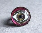 Pink Evil Eye Ring - 18mm Glass Eyeball Cabochon, Color-Changing, Mood Jewelry, Antique Bronze Adjustable Ring, Iridescent, Mystical, Boho
