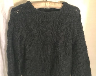 vintage hand made lambs wool black sweater