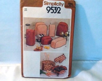Appliance Cover and Pot Holder pattern, Simplicity 9532, vintage 1980s, Toaster cover, mixer cover, sewing patterns