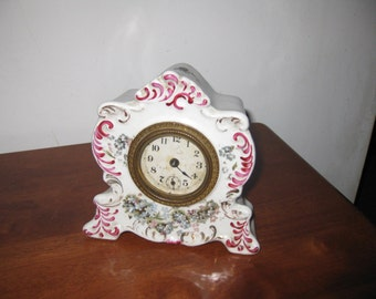 """SMALL PORCELAIN CLOCK Victorian Clock Gilbert Clock Co. 1900 """"Holly"""" 6"""" x 5 1/2"""" x 2 1/2"""" Blue Floral Design WIth Red Trim No Chips"""