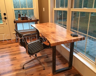 wood desks home office. your custom desk live edge industrial rustic wooden wood desks home office