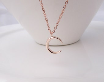 Moon Necklace, Rose Gold Moon Necklace, Bridesmaid Gifts, Gifts for Girls, British Seller UK, BFF Gifts, Bridesmaid Necklace, Crescent Moon