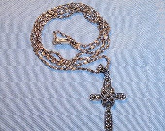 Vintage 925 Sterling Silver Cross With Marcasites And Chain