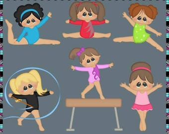 Little Tumblers 2017, Gymnastics, Dance - Instant Download - Semi Exclusive Commercial Use Digital Clipart Elements Graphics Set