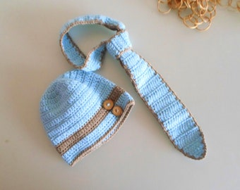 Newborn boy hat, newborn boy tie, baby boy, newborn set, newborn hat, baby crochet hat and tie set, ecofriendly, newborn photo outfit