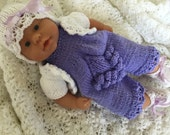 """Hand knitted romper set for 12""""-14"""" baby doll"""