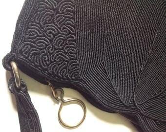 True Vintage 1940's Black Genuine CORDE Braided Handbag