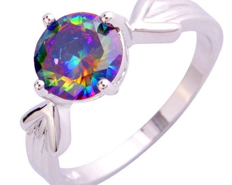 Gorgeous Rainbow Topaz Silver Ring Size 8 Perfect Gift