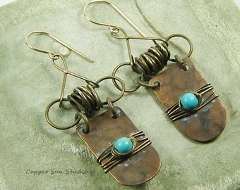 Shabby Copper and Turquoise Earrings, Wire Wrap Bow Earrings, Mix Metal Earrings, Boho Earrings, Whimsical, Rustic Jewelry,Hammered Earrings