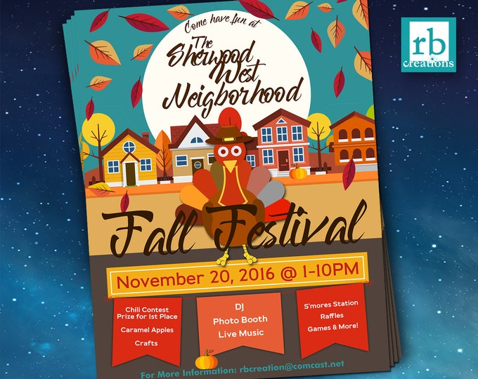 Block Party Flyer, Fall Festival Fall Flyer, Autumn flyer, Thanksgiving flyer, 8.5x11 Flyer Design, Flyer Design - Digital Printables