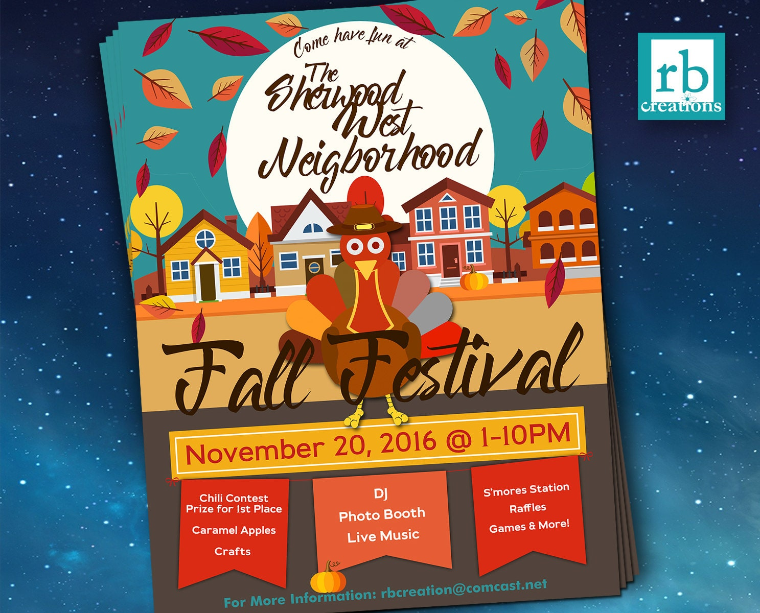 Block Party Flyer, Fall Festival Fall Flyer, Autumn Flyer, Thanksgiving  Flyer, 8.5x11 Flyer Design, Flyer Design   Digital Printables