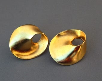 Vintage GIVENCHY Earrings Matte Gold Abstract Twisted Wide Hoops, Givenchy Earrings Pierced Clip Combo, Haute Couture Runway Statement